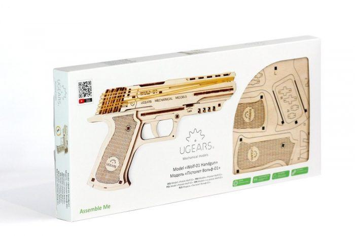 ugears modelis pistoletas