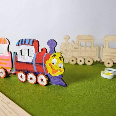 Traukinukas 3D modelis spalvinimui