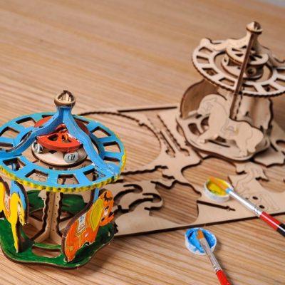 Karuselė 3D modelis spalvinimui